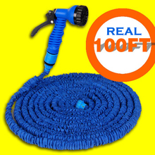 Free Shipping Garden hose Stretched 30M hose watering 100FT Blue Magic Expandable Garden Supplies Water Hose with Spray Gun(China (Mainland))