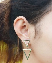 European Fashion Earrings for Women Metal Double Triangle Statement Stud Earrings 2A3008(China (Mainland))
