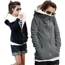 New Women Plush fleece hooded Coat Jacket Sweatshirt Winter Outwear(China (Mainland))