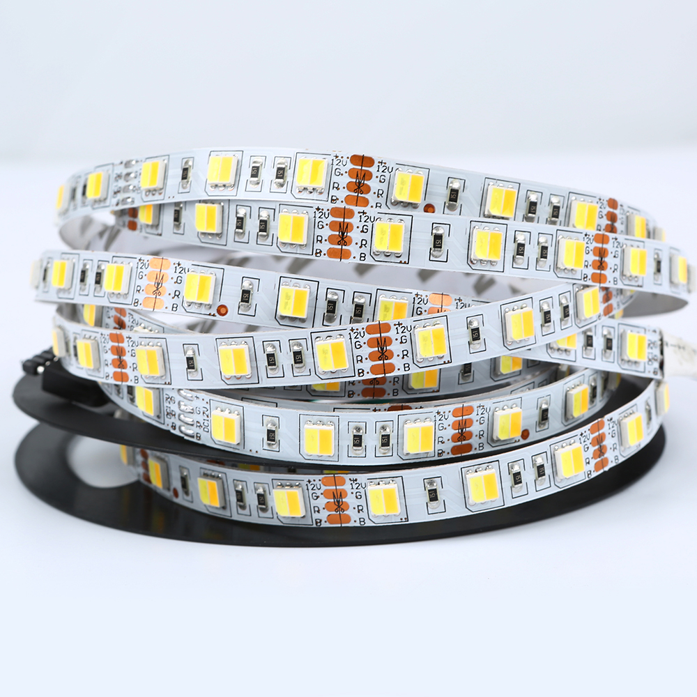 2 colors 1 led 5050 LED Strip Dual White 5630 CW/WW CCT color temperature 5m LED tape Lights 12V Non waterproof Free