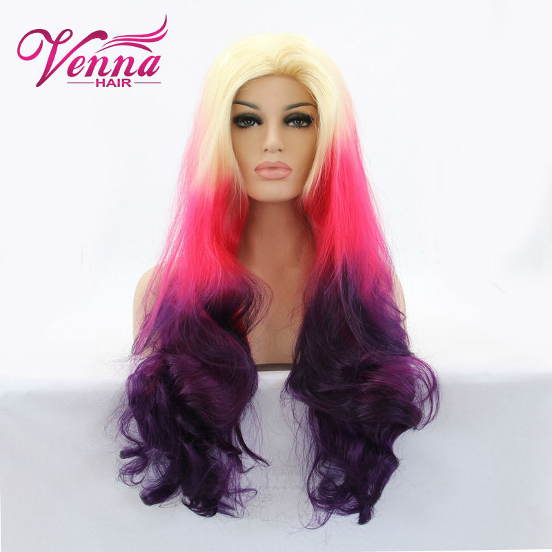 Beautiful Body Wavy Wigs Blonde/Pink/Purple Three Tone Ombre Synthetic Lace Front Wig For African American Women<br><br>Aliexpress