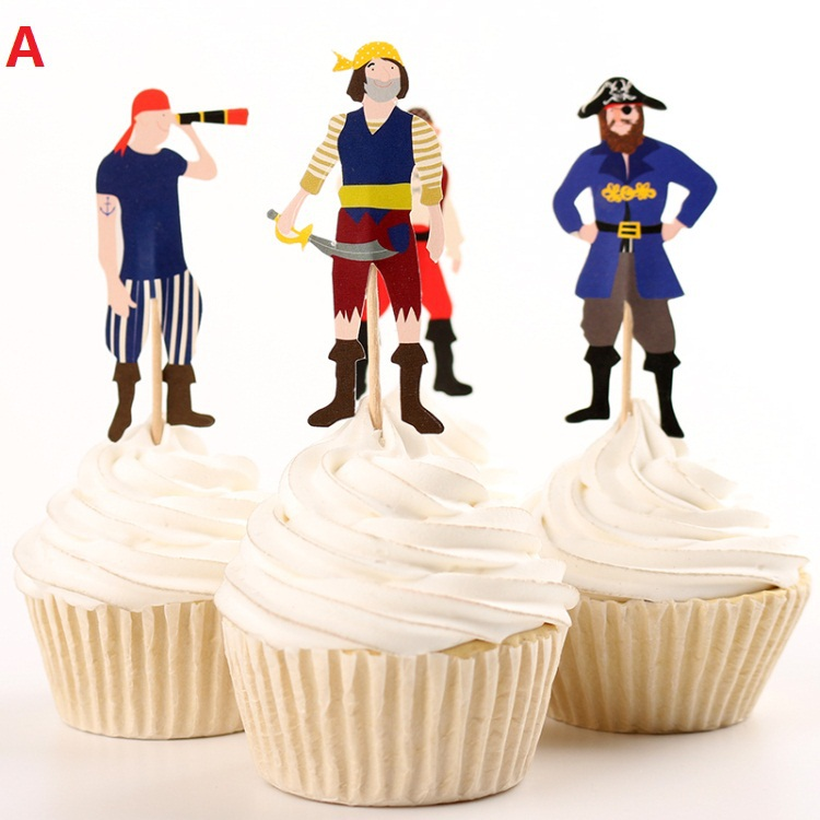 Handmade Cake Accessory Supply Pirate Party Supplies Cartoon Cupcake Toppers Pick Baby Shower Birthday Party Decorations Kids(China (Mainland))