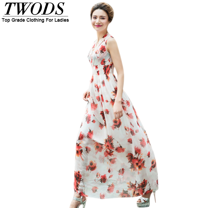 Twods 2016 New Women Summer Dress Sexy V-neck High Waist Slim Cut Floral Print Chiffon Beach Maxi Long Dresses Plus Size 4XL