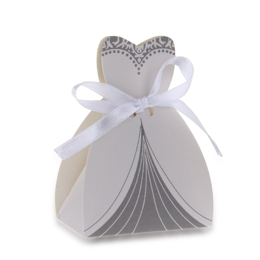 Wedding Paper Gift Bags Wholesale : GSFY Wholesale 12PCS Paper Candy Gift Bag Pouch Wedding White Ribbon ...