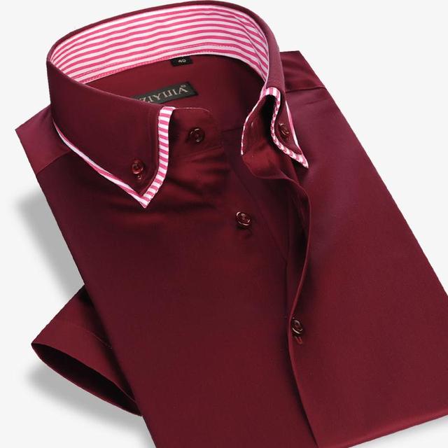 100% хлопок мужчины мода твердые рубашки марка высокое качество с коротким рукавом ...