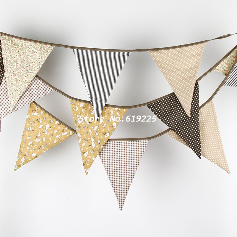 New Bigger size Brown Bunting Banner Vintage Wedding Birthday Party New Born Garden Decorations 12 Flags Photo Prop Pennant(China (Mainland))