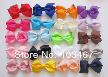 "50pcs/lot 20 colors 3.3-3.5"" Baby Grosgrain Ribbon Bows WITHOUT clip,Hair Accessories for Girls"