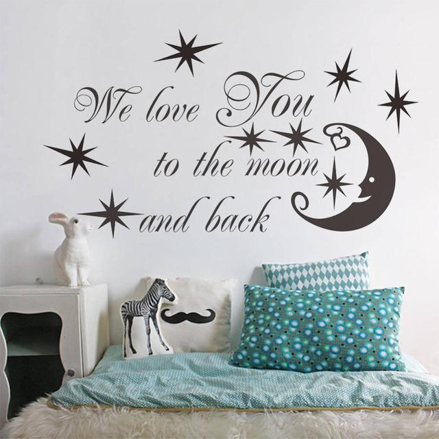 47 * 24 '' мы любим тебя до луны котировки виниловые звезды луны наклейки стены термоаппликации спальня фреска