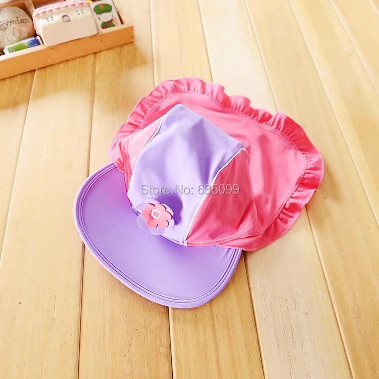 6-24M New Baby Girls Floral Swim Hat Girl Ruffle Sun Protection Cap Surfing Hats Beachwear Kids Flower Surf Sunsafe UPF 50+(China (Mainland))