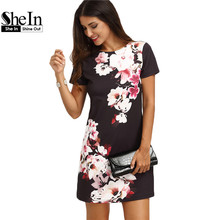 SheIn 2016 Summer Casual Dresses For Women Ladies Multicolor Floral Print Short Sleeve Round Neck Straight Short Dress(China (Mainland))