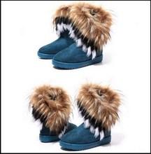 Zapatos de Mujer de Invierno Las Mujeres Largas calientes Altas Botas de Nieve Artificial Fox Rabbit Fur Bota Femininas Zapatos mujer Chaussure Femme Botte(China (Mainland))