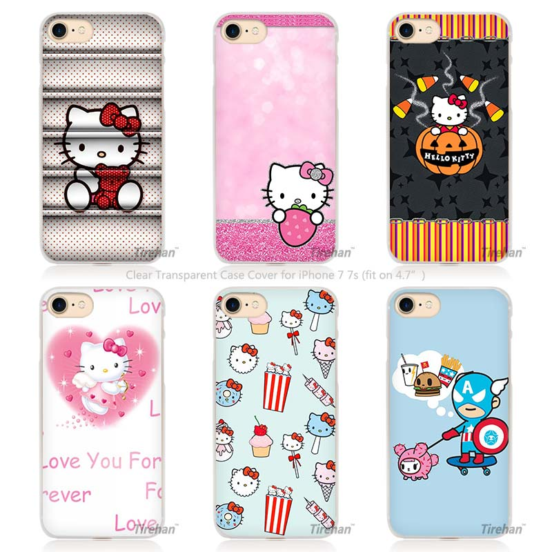 cute Hello kitty Hard Transparent Phone Case Cover Coque for Apple iPhone 4 4s 5 5s SE 5C 6 6s 7 Plus(China (Mainland))