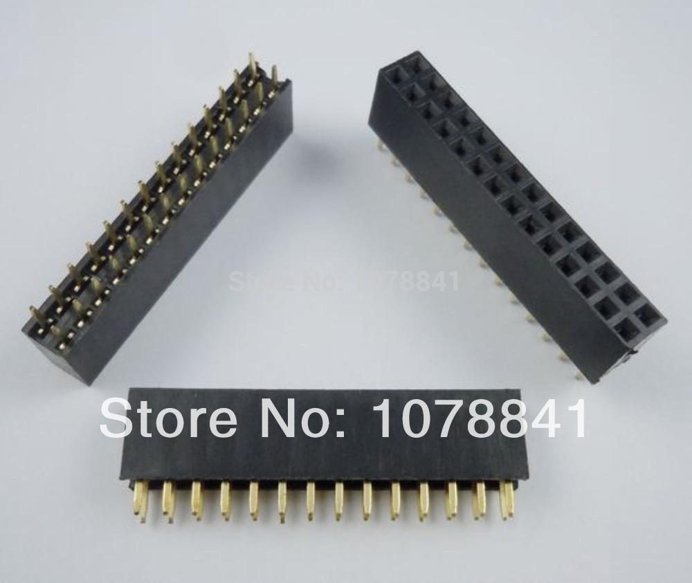 100 Pcs Per Lot 2.54mm 2x14 Pin 28 Pin Female PCB Double Row Straight Header Strip PH:8.5mm от Aliexpress INT