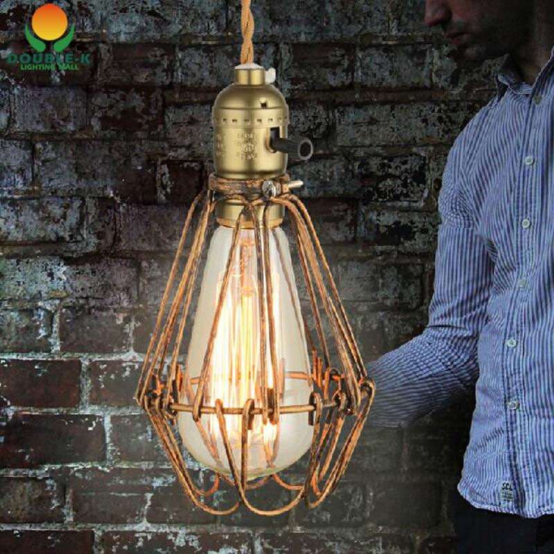 Art deco vintage industrial antique metal cage pendant light factory wire ste - Deco vintage industriel ...
