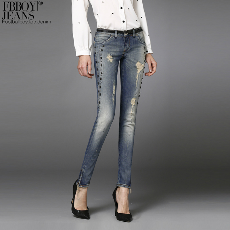 Фотография Fbboy spring fashion personality rivet jeans pencil pants female fgk1056