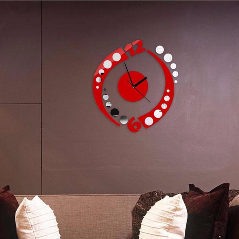 3d stickers diy Acrylic sticker Living Room Modern clocks parede home decor wall clock free shipping(China (Mainland))