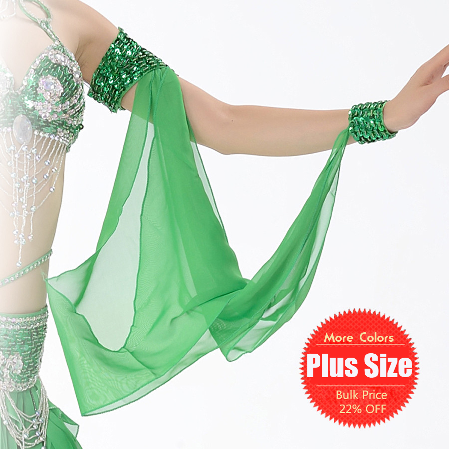11 Colors Wholesale Belly Dance Costume Accessories 1 Piece Arm Sleeves Wrist Adjustable Chiffon Sleeve Sequins Armbands(China (Mainland))