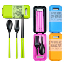 Outdoor Travel Portable Travel Cutlery Fork Chopsticks Spoon Eco-friendly Tableware Camping Picnic Set Gift for CHild KIds Blue