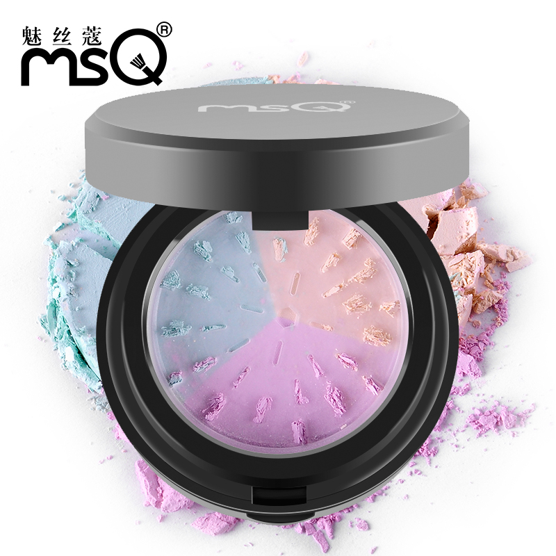2016 MSQ Brand Professional Makeup Pressed Powder With Sponge Mirror Set Polishing Compact Face Powder 3 Colors in One HOT HO(China (Mainland))