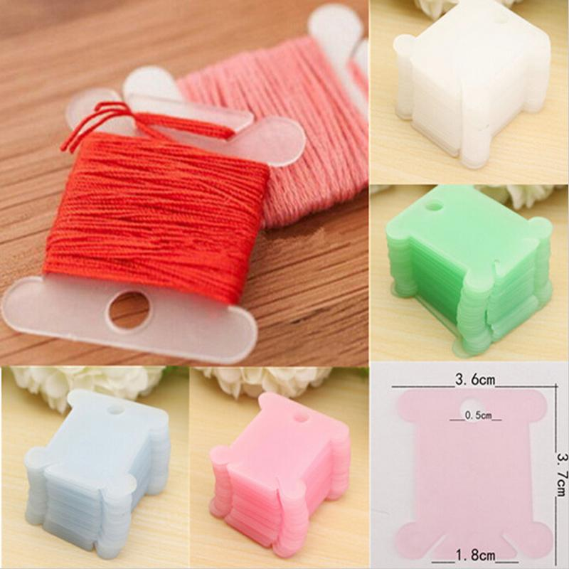 100pcs Plastic Embroidery Floss&Craft Thread Bobbins for Storage Holder Cross Stitch Sewing Supplies(China (Mainland))