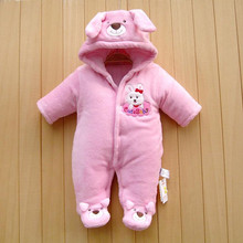 2016 Winter Fleece Baby Rompers Infant Thick Cotton Hooded Clothes Newbron Boy Girls Meninas Bear Down Snowsuit Babies Jumpsuits(China (Mainland))