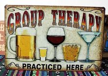 GROUP THERAPY Vintage Tin Sign Bar pub home Wall Decor Retro Metal Poster(China (Mainland))