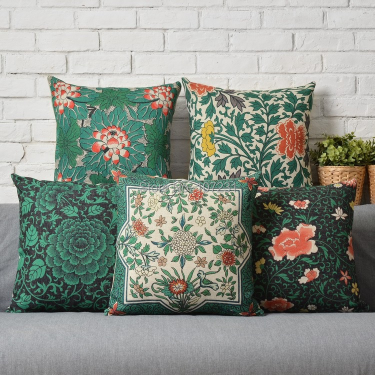 Aliexpress.com : Buy 45X45cm Vintage Green Floral Pillow Case Cushion Cover Decor Home Creative ...