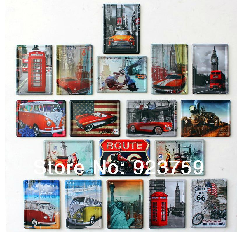 12PCS/LOT CAR/BUS Vintage metal painting home fridge decoration iron paintings Bar wall decoration 11*8 CM FREE SHIPPINGMixed wh(China (Mainland))