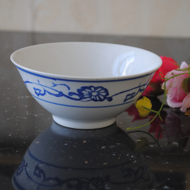 Supply Jingdezhen Ceramic rice bowl simple blue white old Chinese underglaze color tableware 18013 - Yan yan grocery store