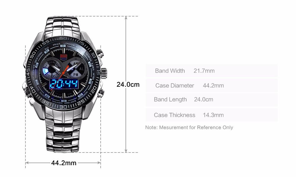 ТВГ Мужчины Спортивные Часы Парни Весь из нержавеющей стали водонепроницаемый Кварцевые часы Цифровой Аналоговый Двойной дисплей мужские Военные часы