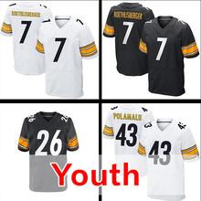 Youth #26 Le'Veon Bell Kid's 43 Troy Polamalu 7 Ben Roethlisberger White Black Elite Stitched Free Shipping S-XL(China (Mainland))