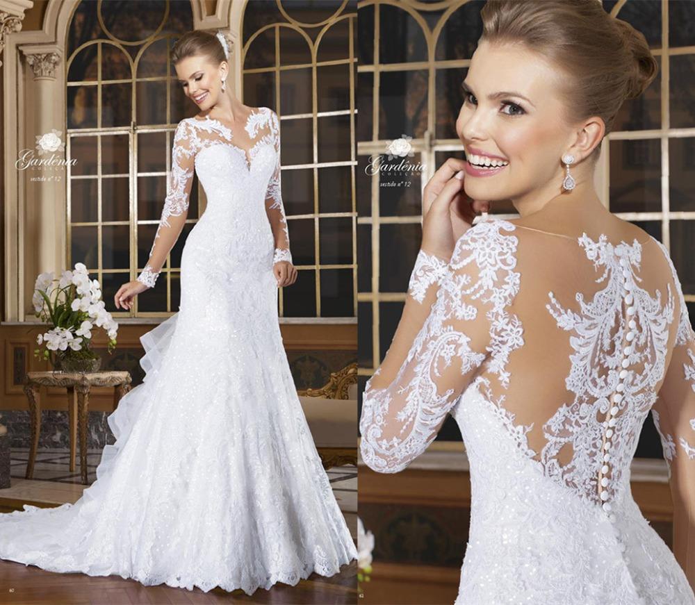 Sexy mermaid wedding dresses 2017 romantic lace beading for Long sleeve mermaid wedding dresses 2017