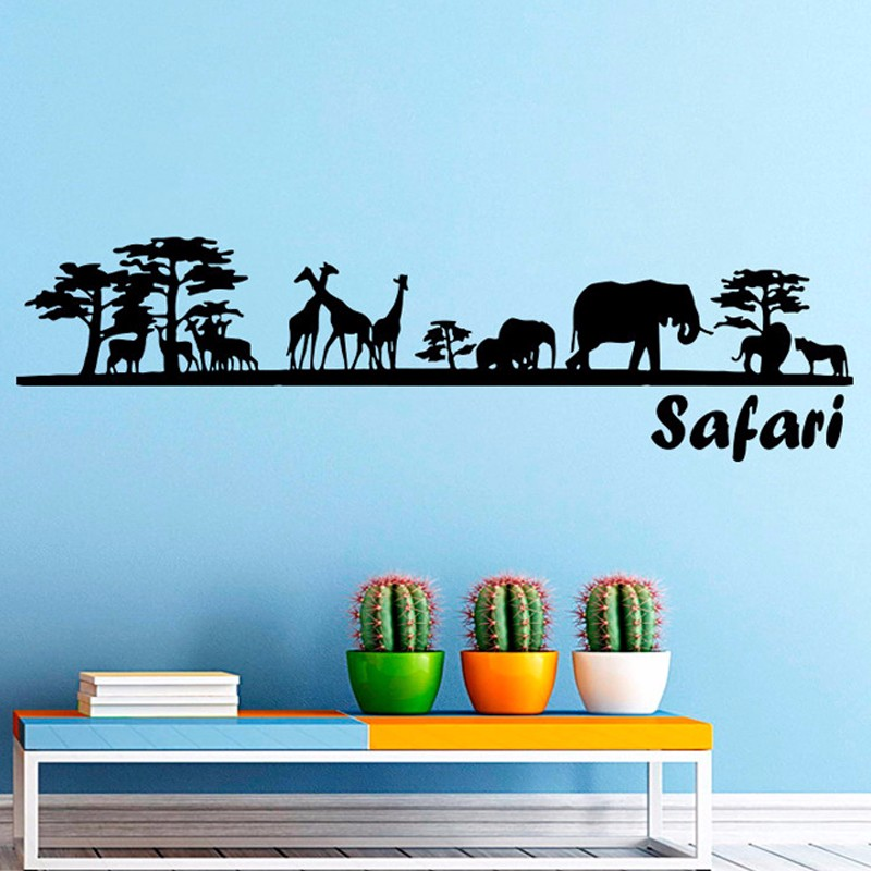Safari Wall Decal Vinyl Sticker Decals Art <font><b>Home</b></font> <font><b>Decor</b></font> Mural <font><b>African</b></font> Safari Tree Animals Giraffe Elephant Jungle <font><b>Home</b></font> <font><b>Decor</b></font>
