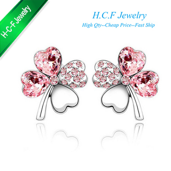 2015 Special Off  50% New 18K GP Special Off Christmas Gifts The New Clovers Heart Stud Earrings Accessories Free shipping