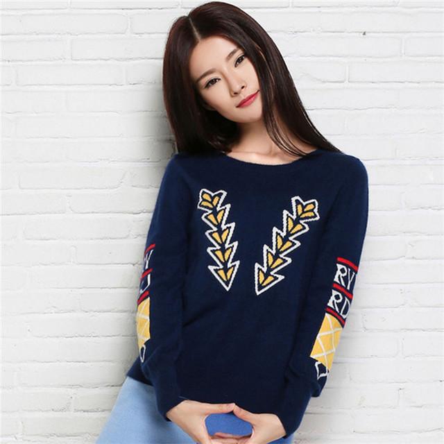 Winter Женщины Arrow Pattern Cashmere О-образным вырезом 2 Цветs Pullover and свитер ...