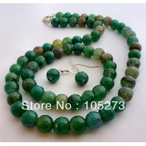 New Arriver Natural Gem Stone Jewelry Set Faceted Green Agate Necklace Bracelet 925 Silver Earrings 10mm 18 &amp; 8 Free Ship<br><br>Aliexpress