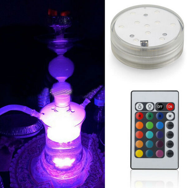 Free Shipping Cheap 3AAA battery operated remote controlled Multi-colors LED vase light,submersible led light,waterproof light(China (Mainland))