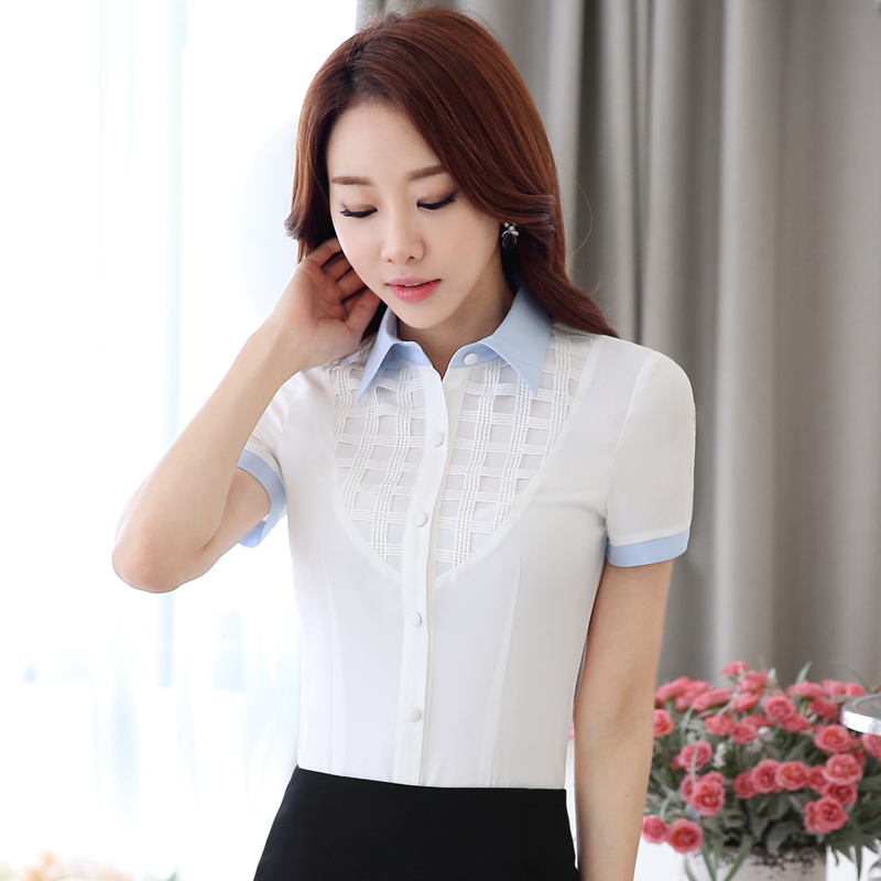Color Inset Lace Stitching Short Sleeve Formal Shirts Women Slim Fit Blouse Office Lady Business Tops(China (Mainland))