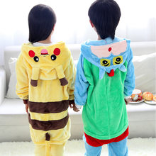 Children cartoon pajamas Pikachu long sleeve baby girls boys clothes yellow warm nightgown pyjamas cute kids pijamas infantil