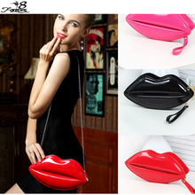 2016 New Popular Big Lips Pattern Women Bag Clutch Chain Shouder Bag Evening Bolsas Red PU Leather Handbags(China (Mainland))