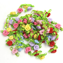 Buy 100PCS/Lot Mini DIY Satin Ribbon Roses Flower Leaves Appliques Scrapbooking Sewing Home Wedding Party Craft Decoration for $3.29 in AliExpress store