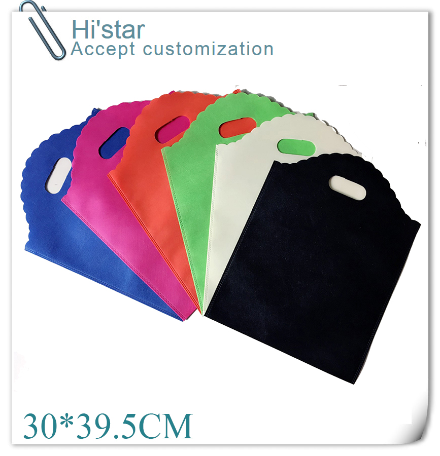 30*39.5CM 20pcs Purple die cutting handle no side and bottom gussets non woven shopping bag(China (Mainland))