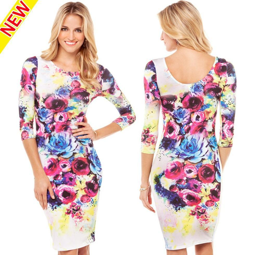 2015 Elegant Half Sleeve Floral Print Spring Summer Knee Length Dress Vintage O neck Bodycon Flower Dresses for women 12299(China (Mainland))