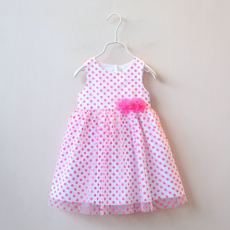 2016 Spring Summer Kids girls print dots dresses Baby girl tulle lace flower dress babies princess party dress childrens clothes<br><br>Aliexpress
