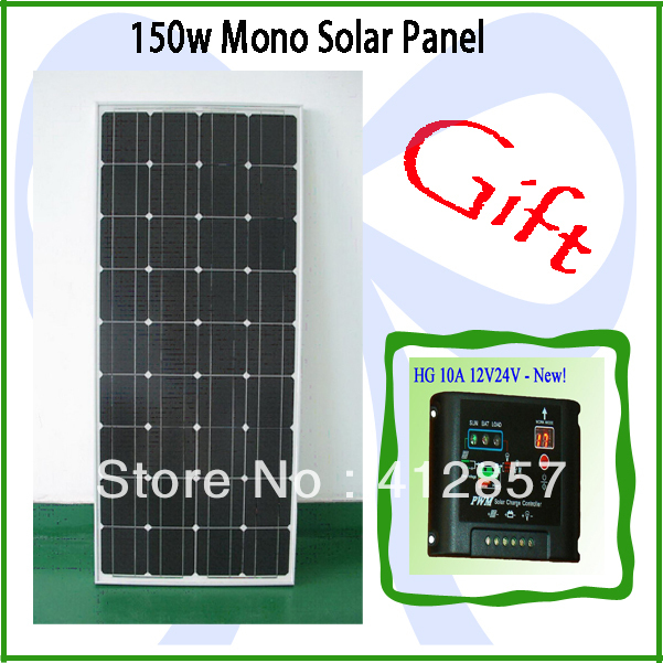 PV solar panel kits 150w monocrystalline solar cell module ship one 10A 12V 24v charge controller as gift(China (Mainland))