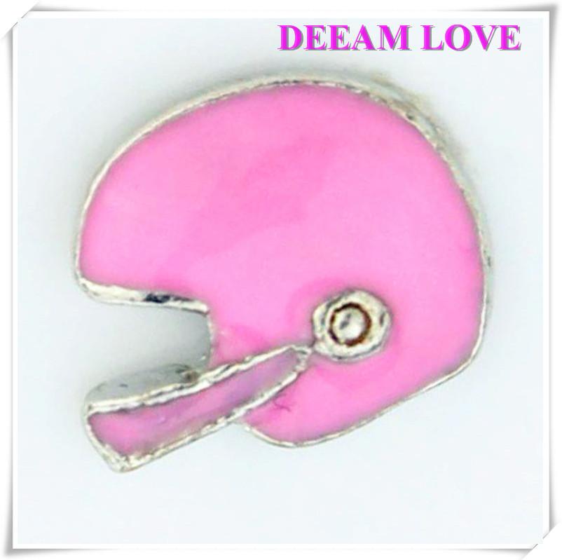 Wholesale Pink mini football helmet floating charms for Glass locket Pendant 20 Pcs/lot(China (Mainland))