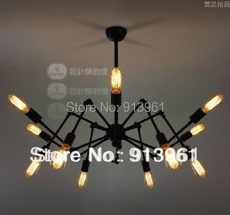 2015 NEWest 12 light Black Widow chandelier Vintage Industrial revolution wrought iron antique Loft style E27 x 12,FREE SHIPPING