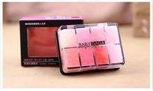 2015 new trendy women 8 mixed color lip gloss lipstick case palette brand lip gloss cream makeup lipstick with lip brush(China (Mainland))