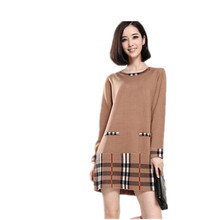 2014 New Spring and Autumn female models Slim long-sleeved knit sweater bottoming spring and autumn plaid dress