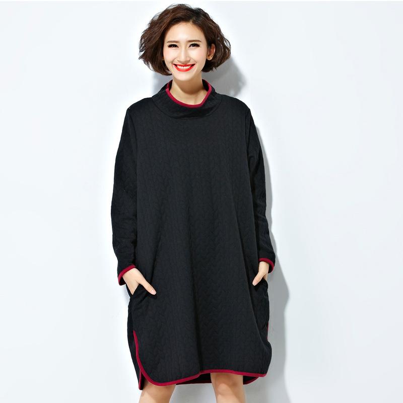 Plus Size Solid Women Dress Vestidos Turtleneck Side Split Long Sleeve Winter Dress Casual Loose Contrast Color Sweatshirt DressОдежда и ак�е��уары<br><br><br>Aliexpress
